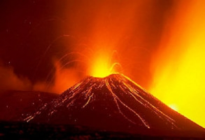Volcanoes and molten underground rock